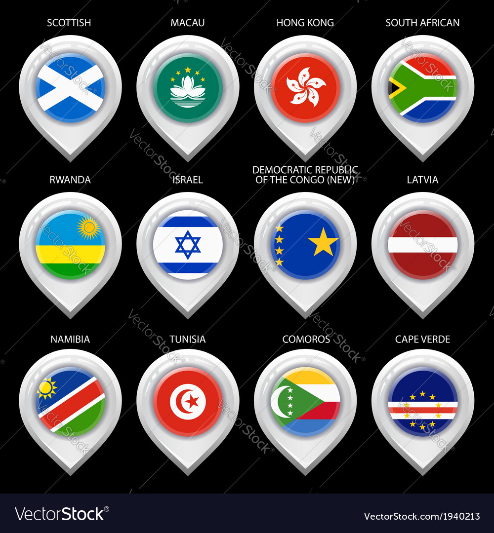 Map marker with flag-set tenth vector | Price: 1 Credit (USD $1)