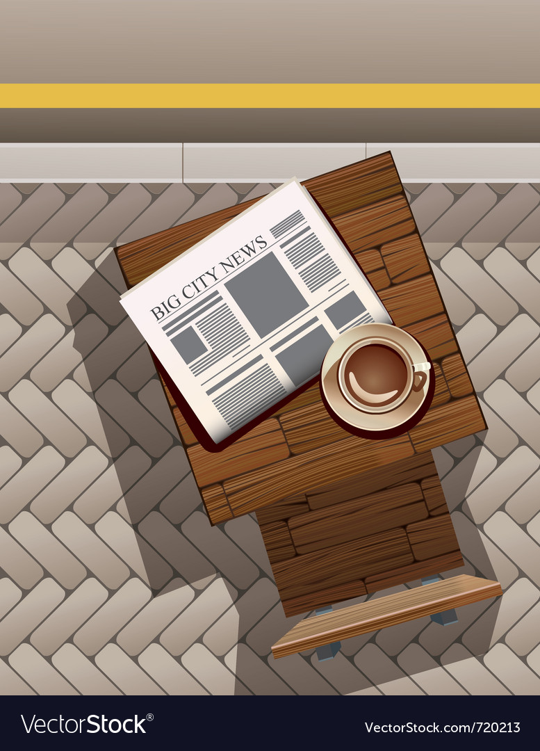 Morning coffee and newspaper at street cafe vector | Price: 1 Credit (USD $1)