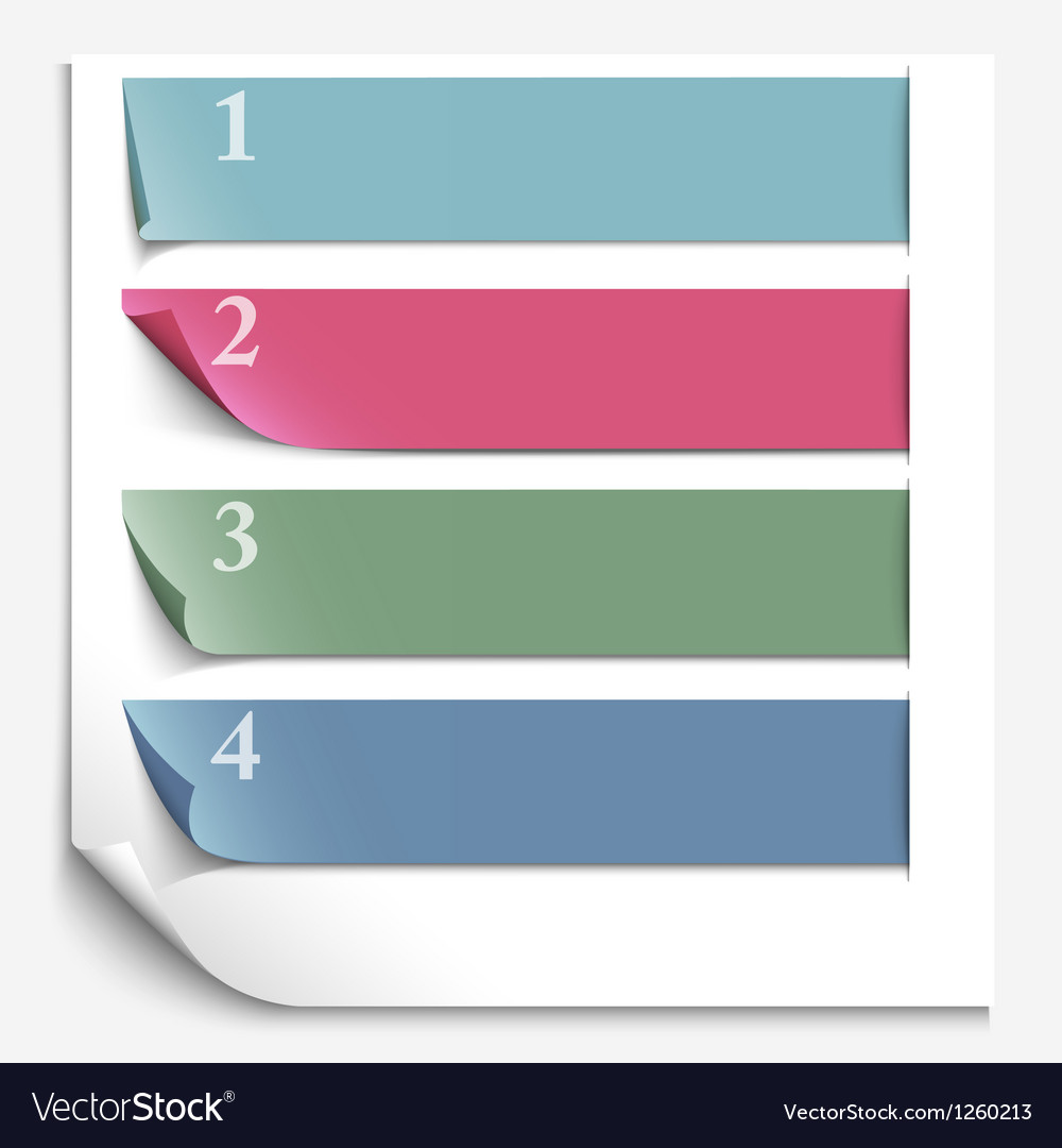 Paper design template for numbered paper banners vector | Price: 1 Credit (USD $1)