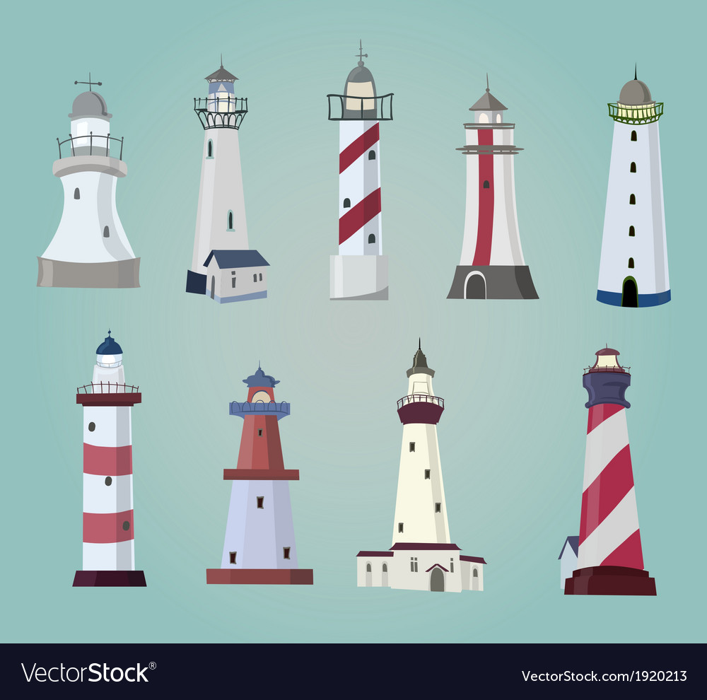 Set of cartoon lighthouses flat icons vector | Price: 1 Credit (USD $1)