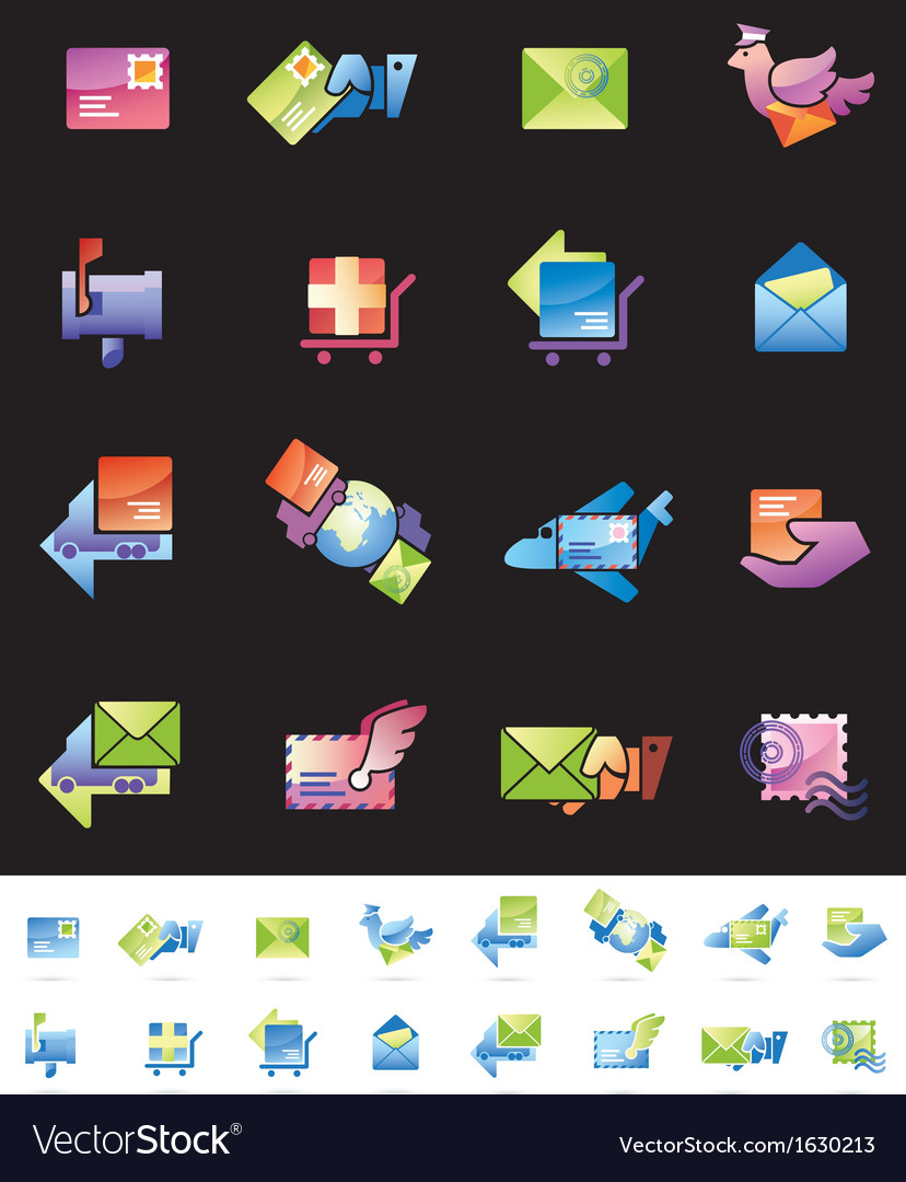 Shipping and mail delivery icons set vector | Price: 1 Credit (USD $1)