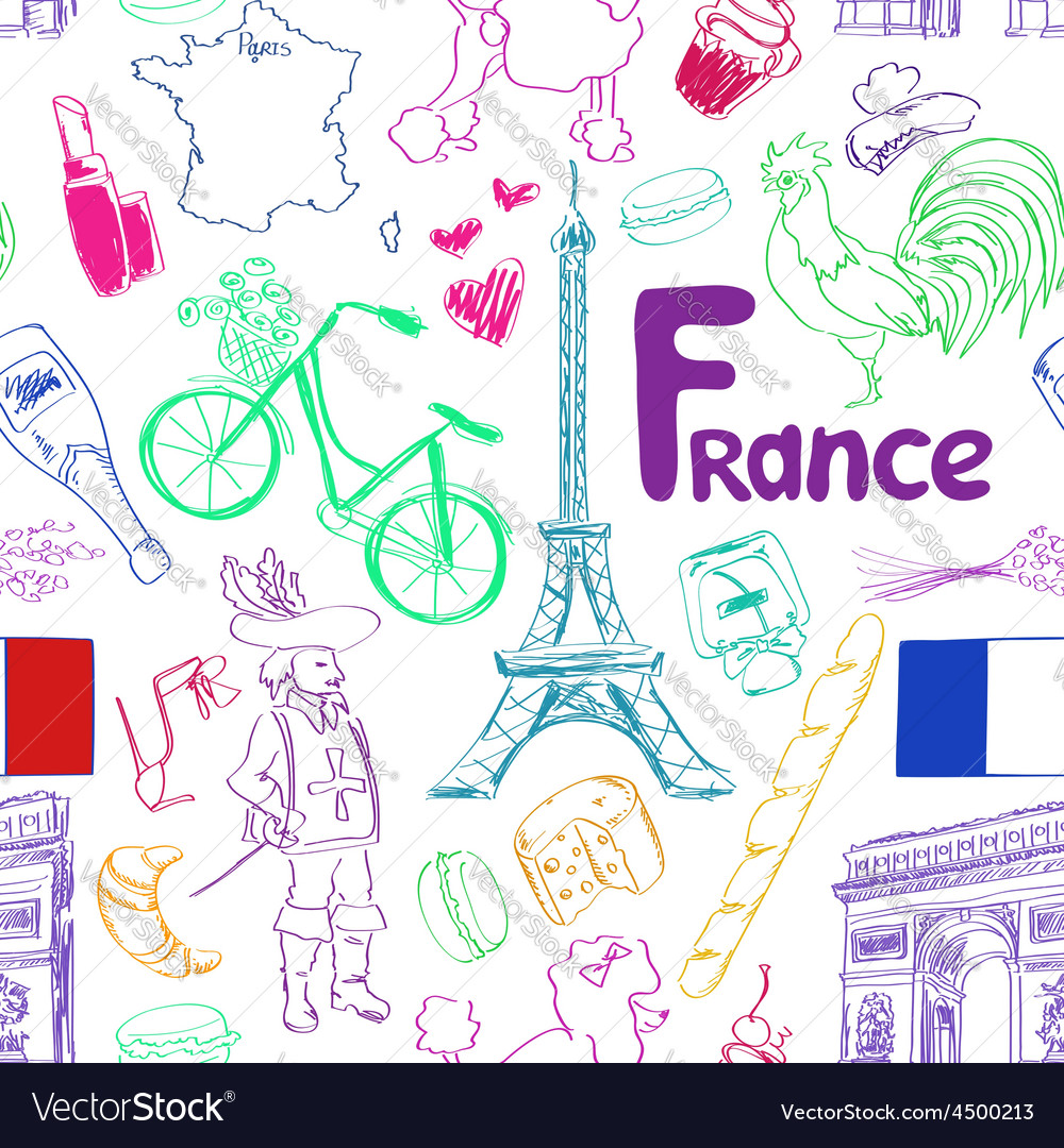 Sketch france seamless pattern vector | Price: 1 Credit (USD $1)