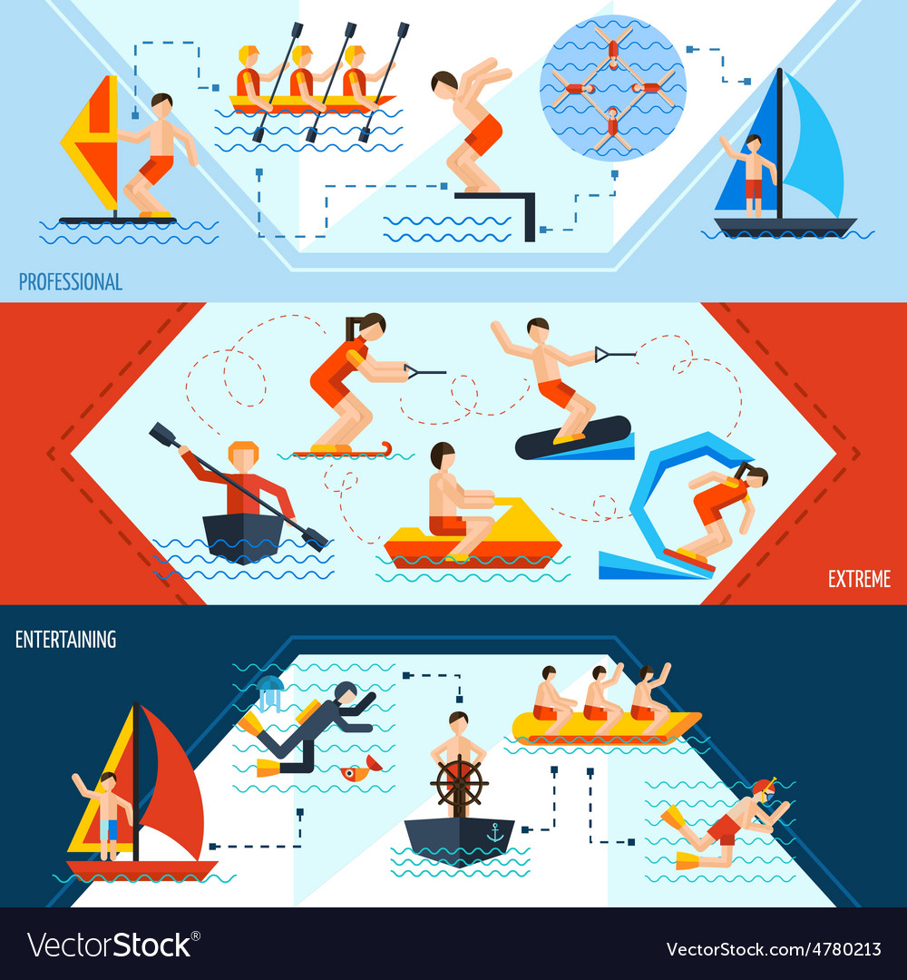 Water sports banners vector | Price: 3 Credit (USD $3)