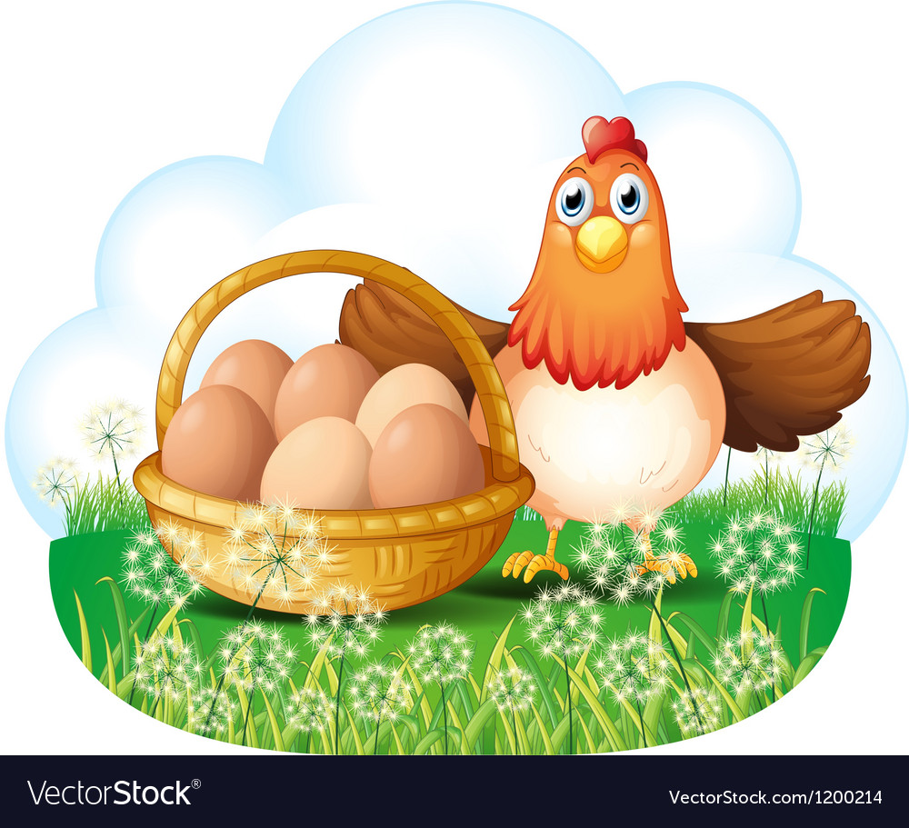 A hen with eggs in a basket vector