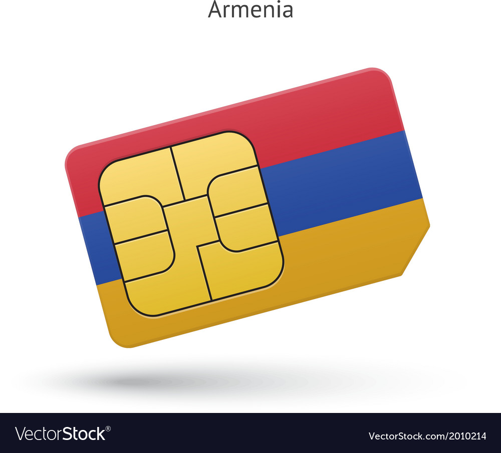 Armenia mobile phone sim card with flag vector | Price: 1 Credit (USD $1)