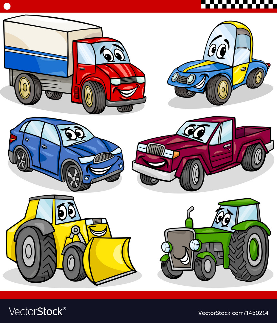 Funny cartoon vehicles and cars set vector | Price: 3 Credit (USD $3)