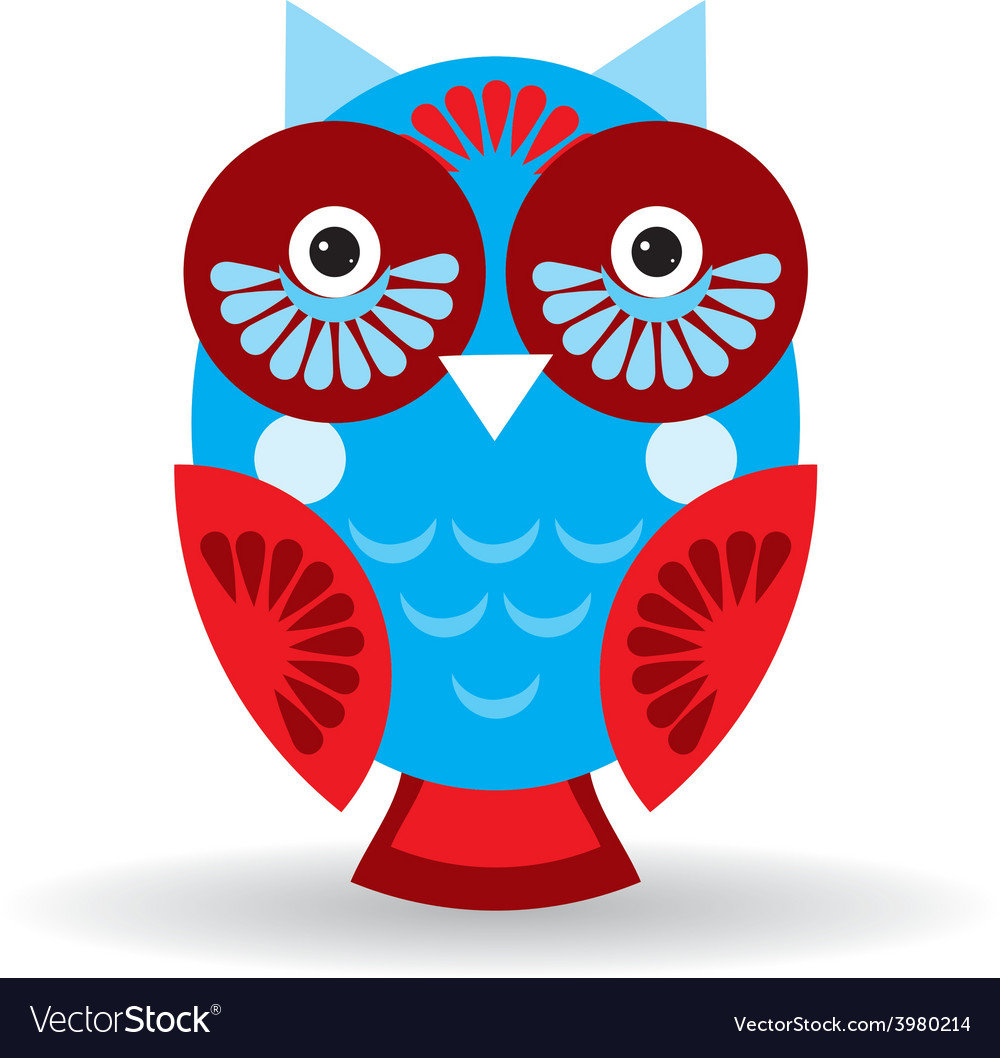 Funny owl on white background vector | Price: 1 Credit (USD $1)