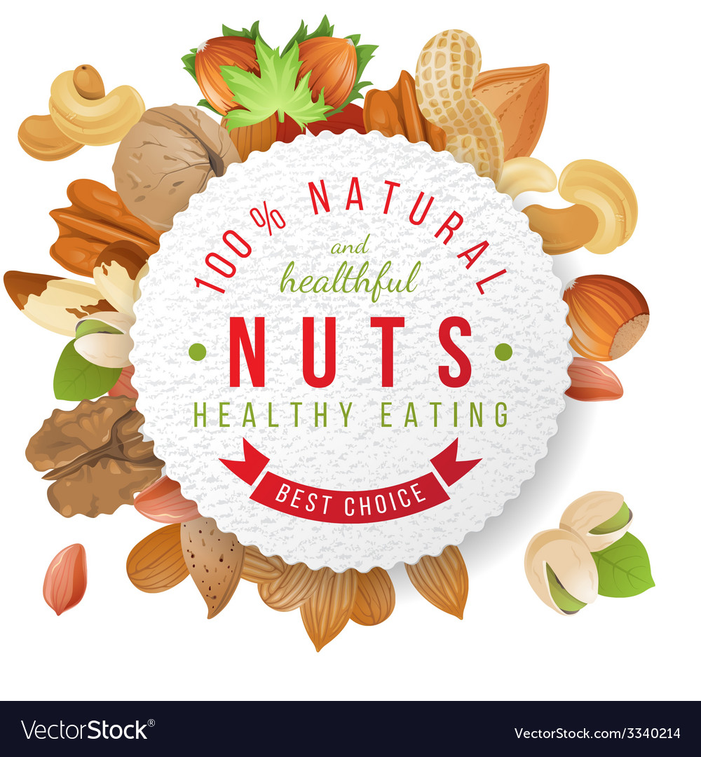 Nuts label with type design vector | Price: 3 Credit (USD $3)