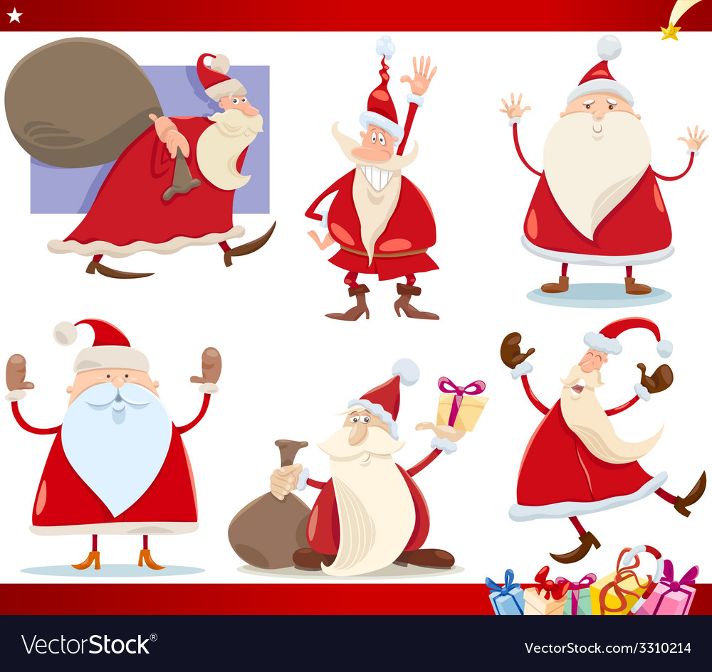 Santa claus and christmas cartoon set vector | Price: 3 Credit (USD $3)