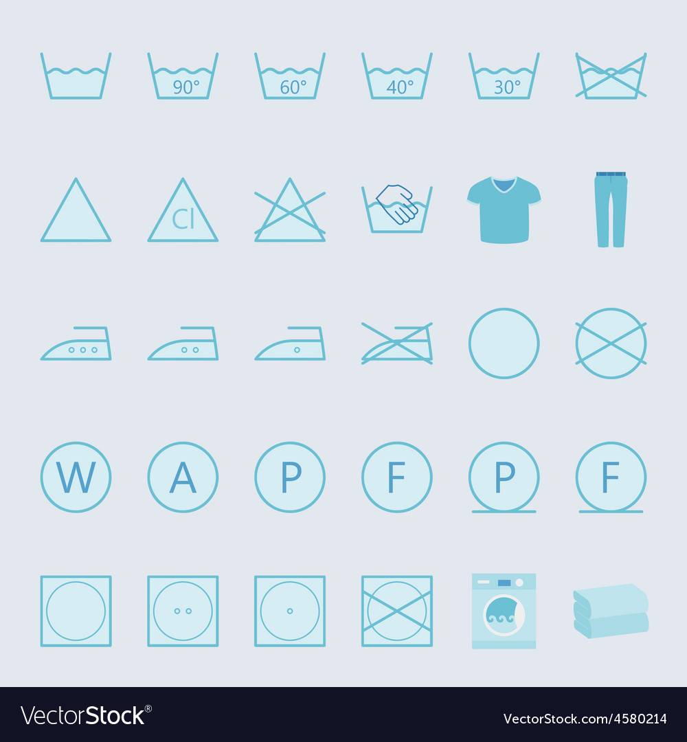 Washing and ironing clothes color flat icon set vector | Price: 1 Credit (USD $1)