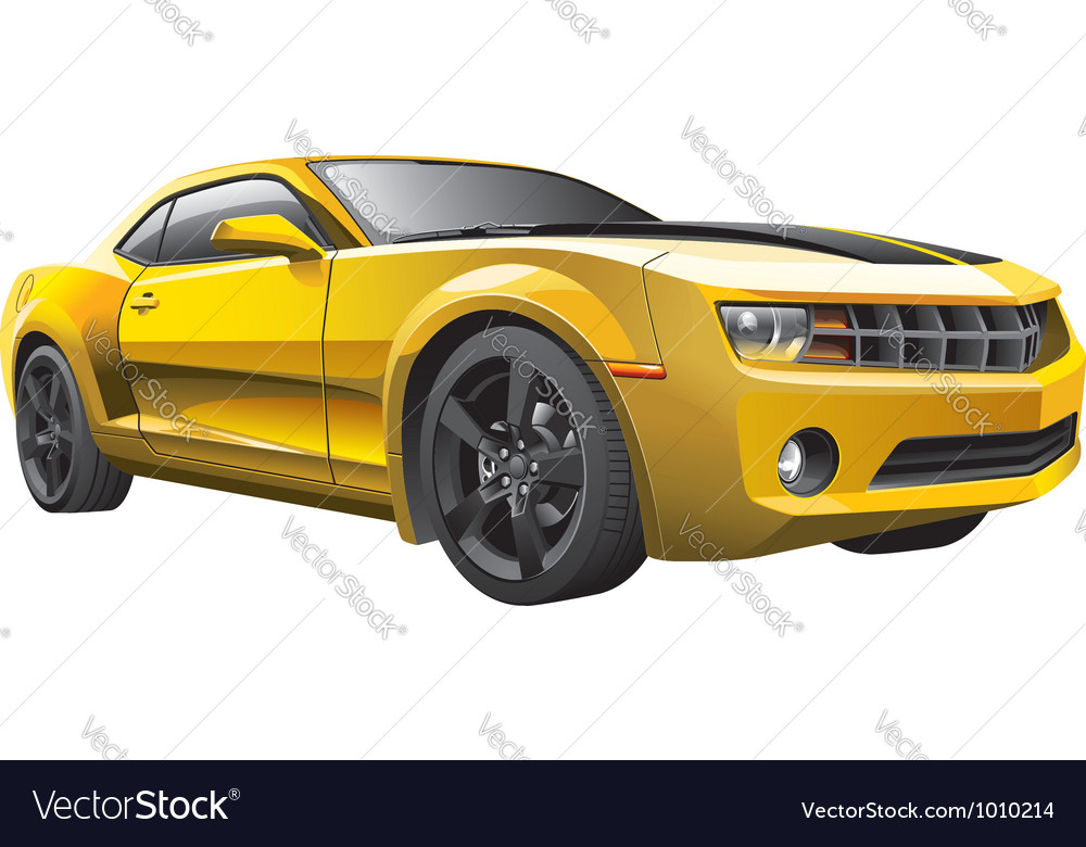 Yellow muscle car vector | Price: 5 Credit (USD $5)