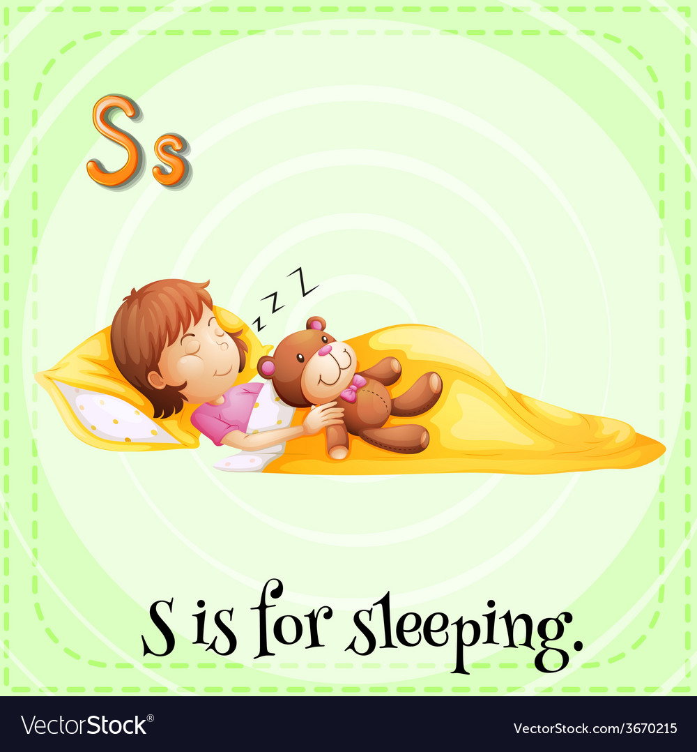 A letter s for sleeping vector | Price: 1 Credit (USD $1)