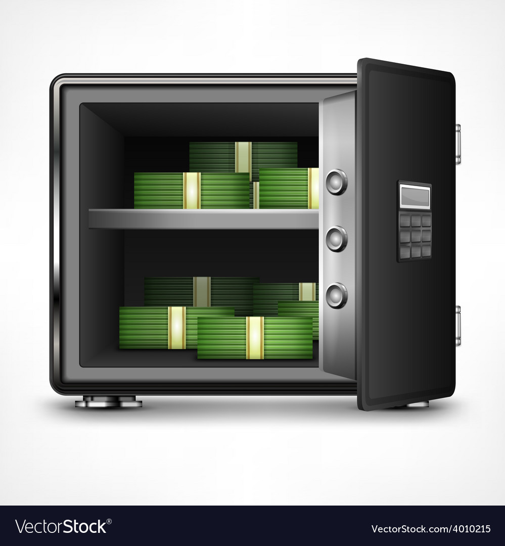 Bank open safe with money vector | Price: 1 Credit (USD $1)
