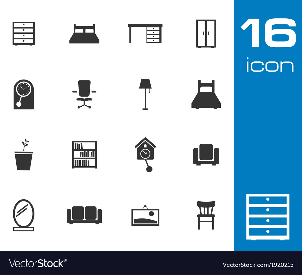 Black furniture icons set on white background vector | Price: 1 Credit (USD $1)