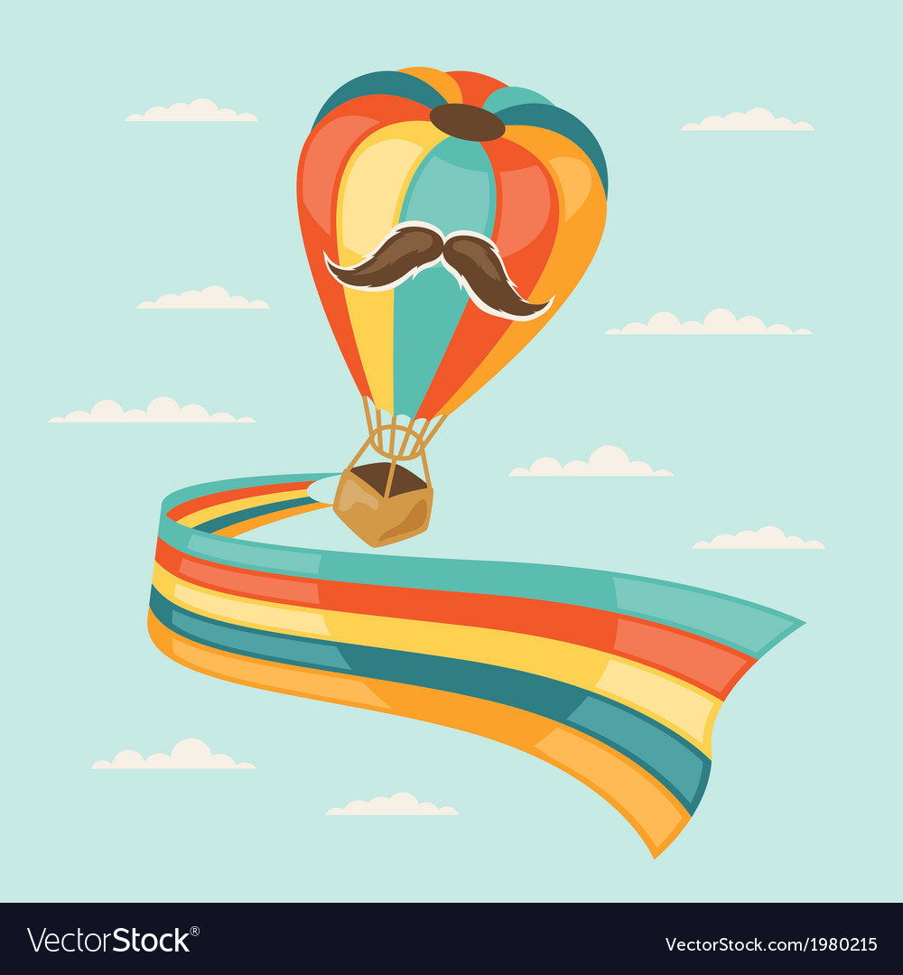Design with air balloon in hipster style vector | Price: 1 Credit (USD $1)