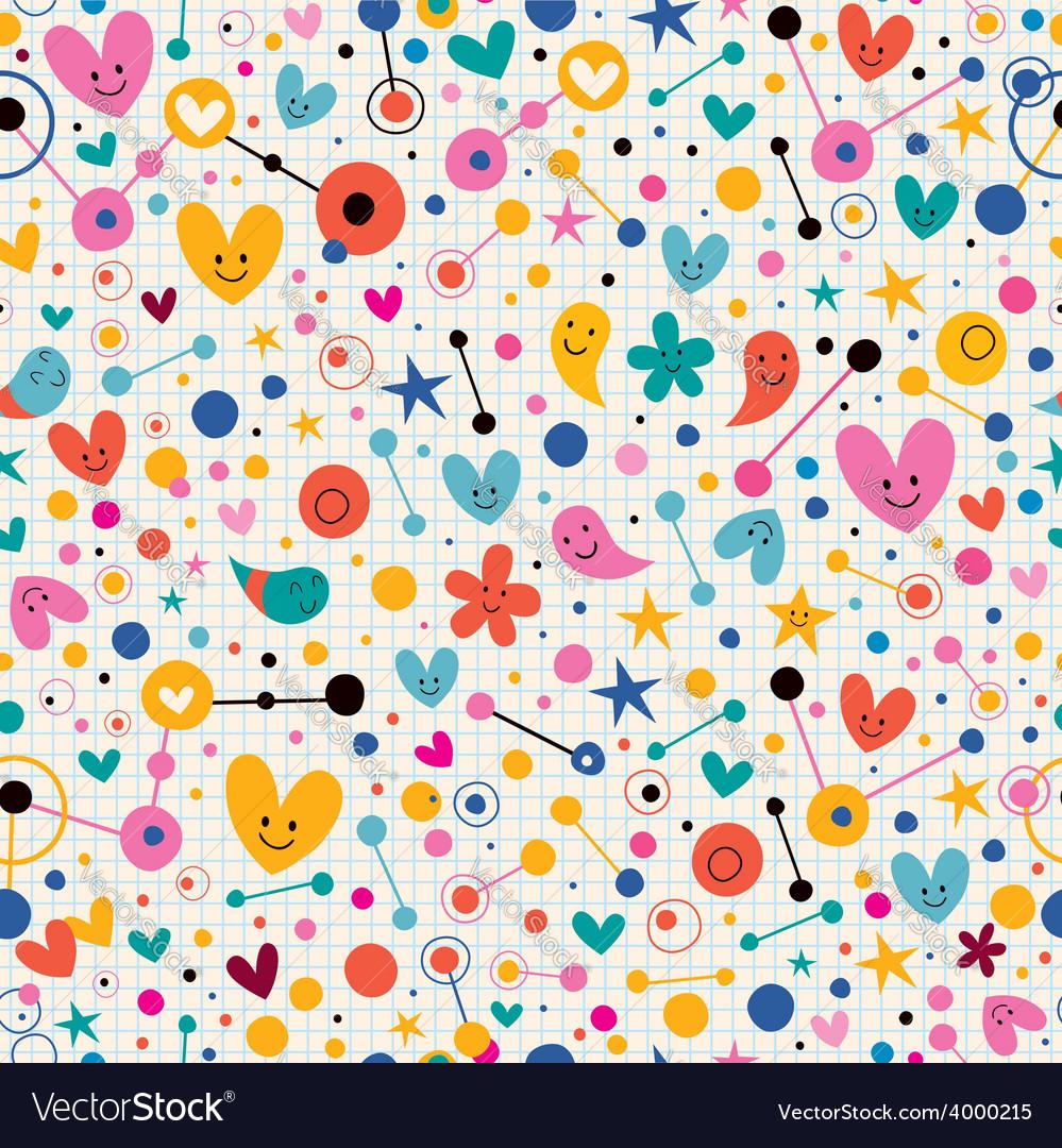 Funky cute cartoon retro note book paper pattern vector | Price: 1 Credit (USD $1)