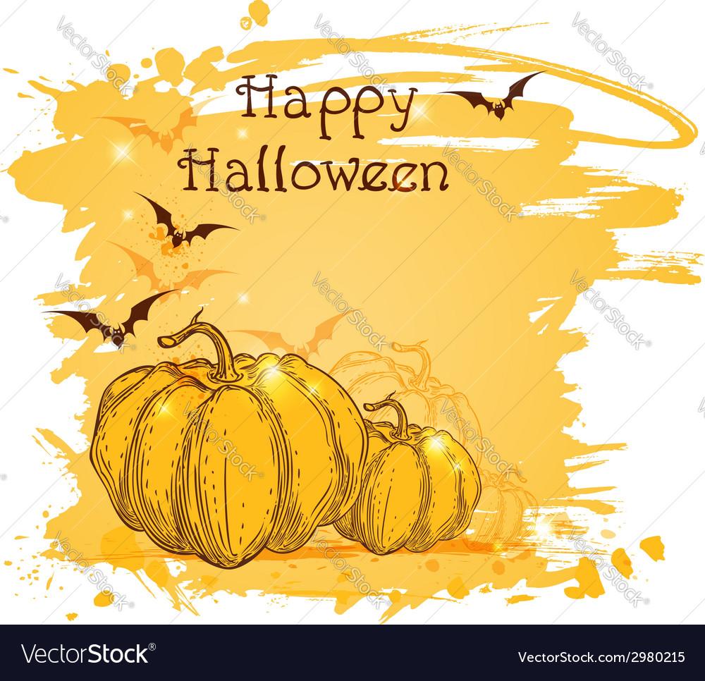 Halloween background with pumpkins vector