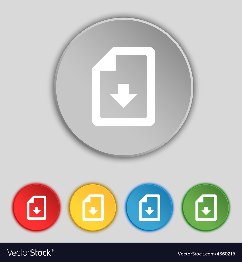 Import download file icon sign symbol on five flat vector | Price: 1 Credit (USD $1)