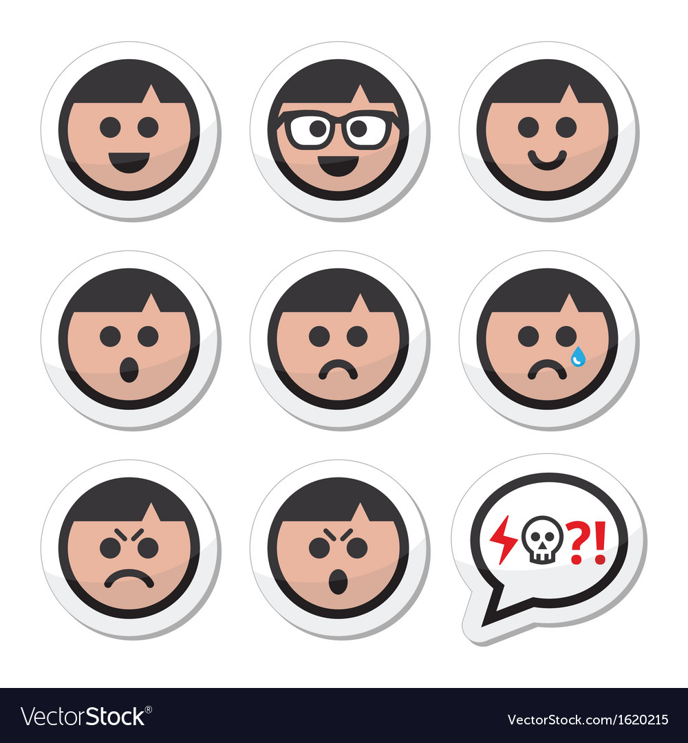 Man boy faces avatar icons set vector | Price: 1 Credit (USD $1)