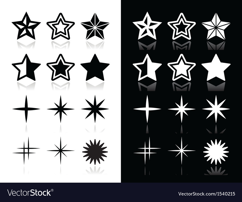 Stars icons with shadow on black and white backgro vector | Price: 1 Credit (USD $1)