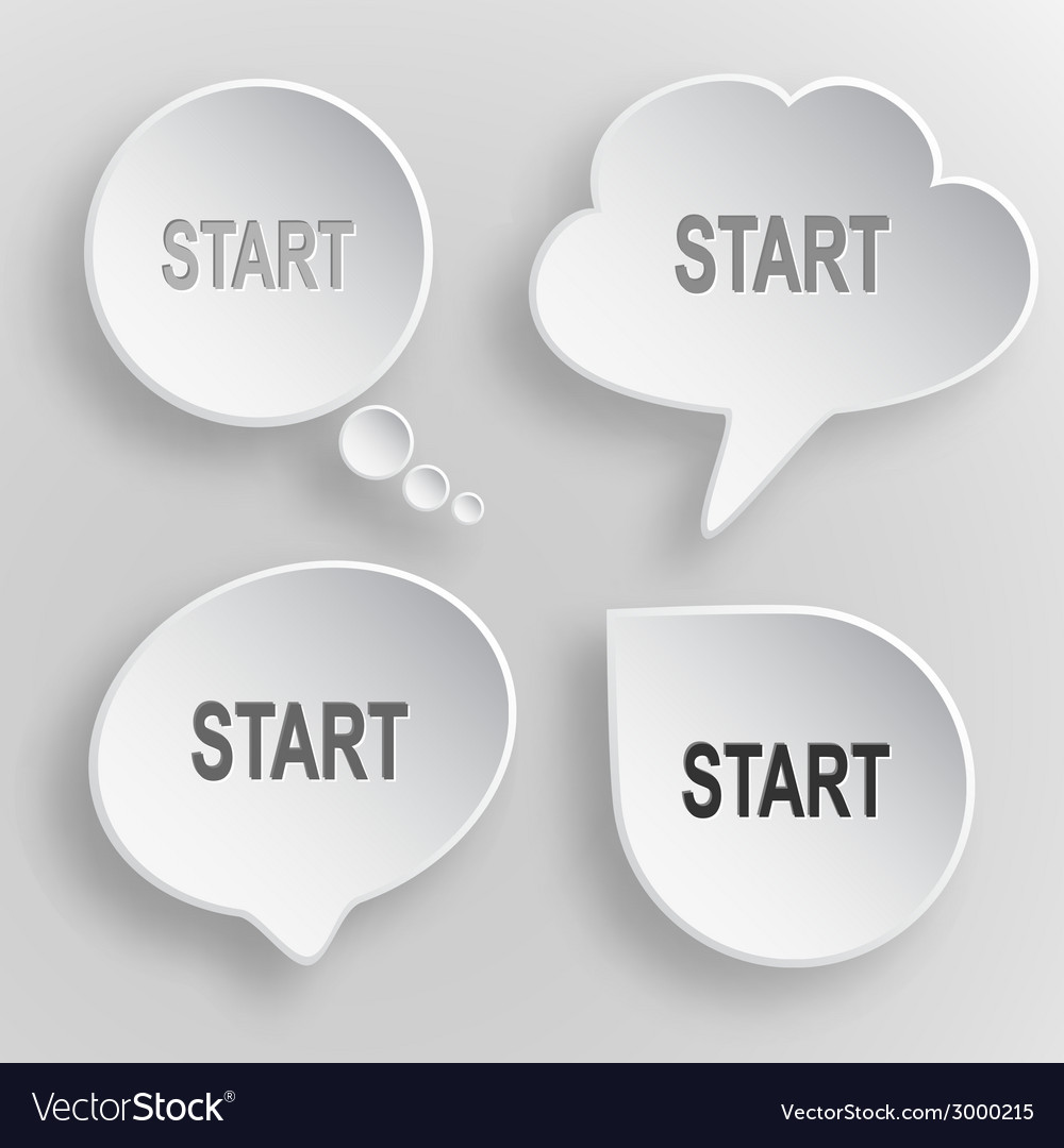 Start white flat buttons on gray background vector | Price: 1 Credit (USD $1)