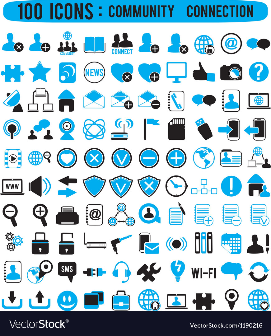 100 icons - community connection vector | Price: 1 Credit (USD $1)