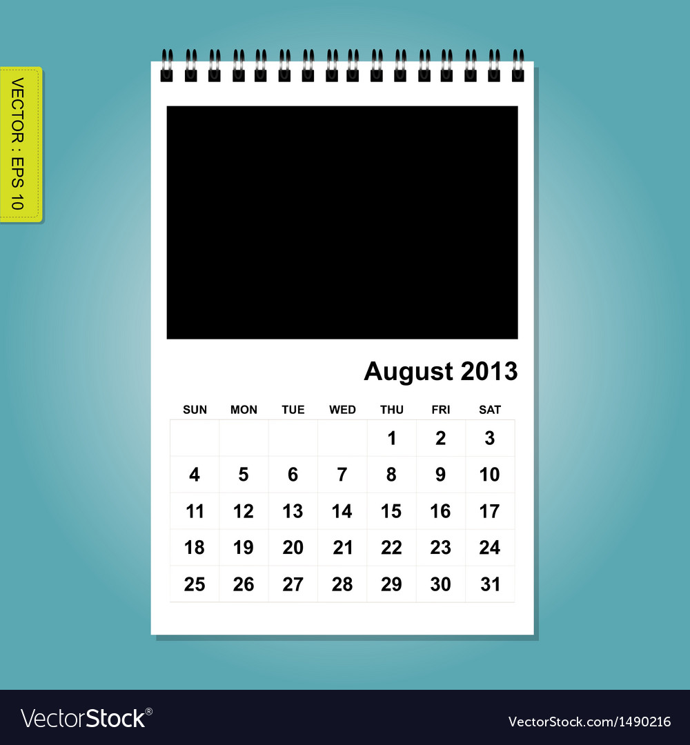 August 2013 calendar vector | Price: 1 Credit (USD $1)