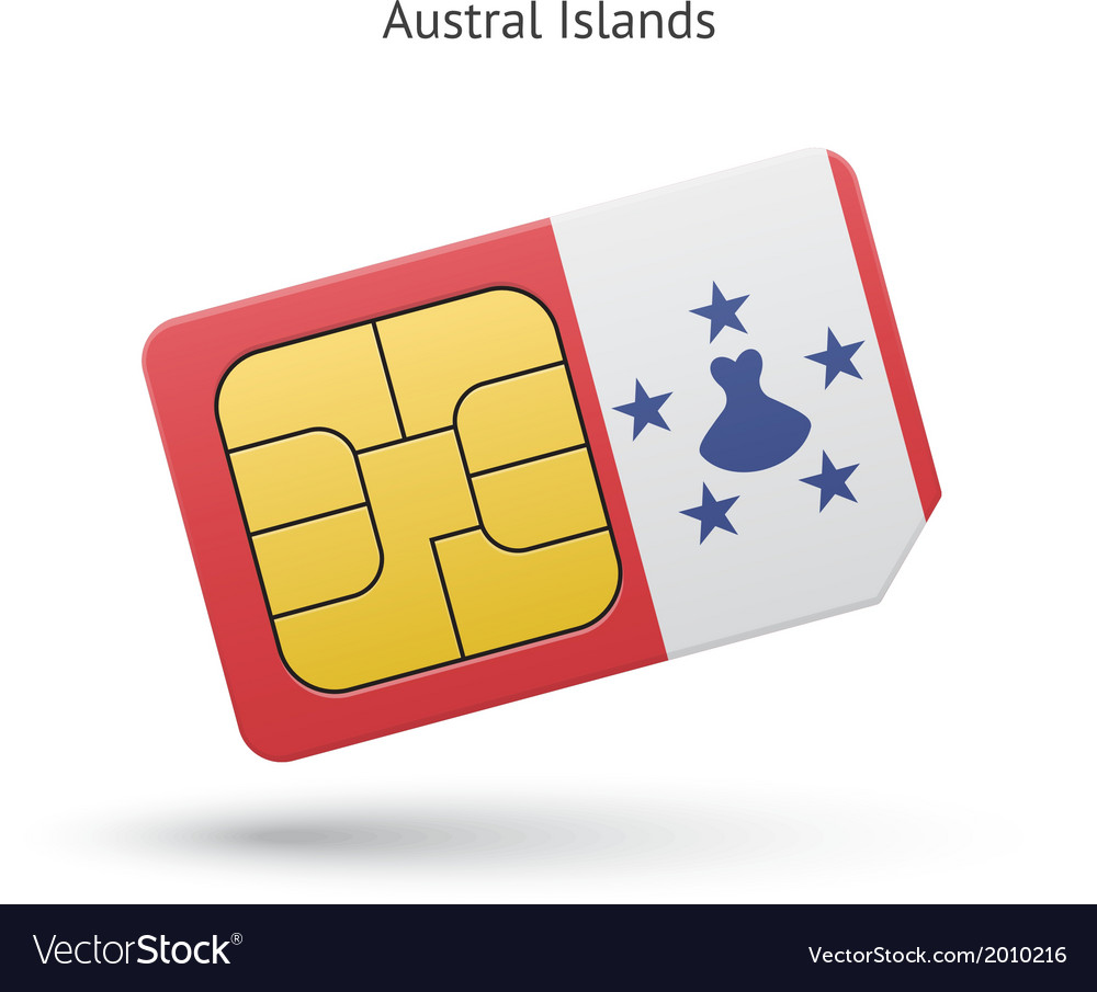 Austral islands mobile phone sim card with flag vector   Price: 1 Credit (USD $1)