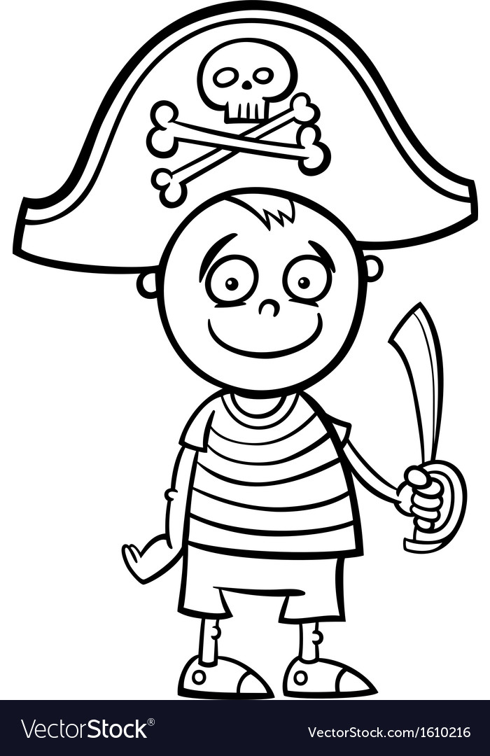 Boy in pirate costume coloring page vector | Price: 1 Credit (USD $1)