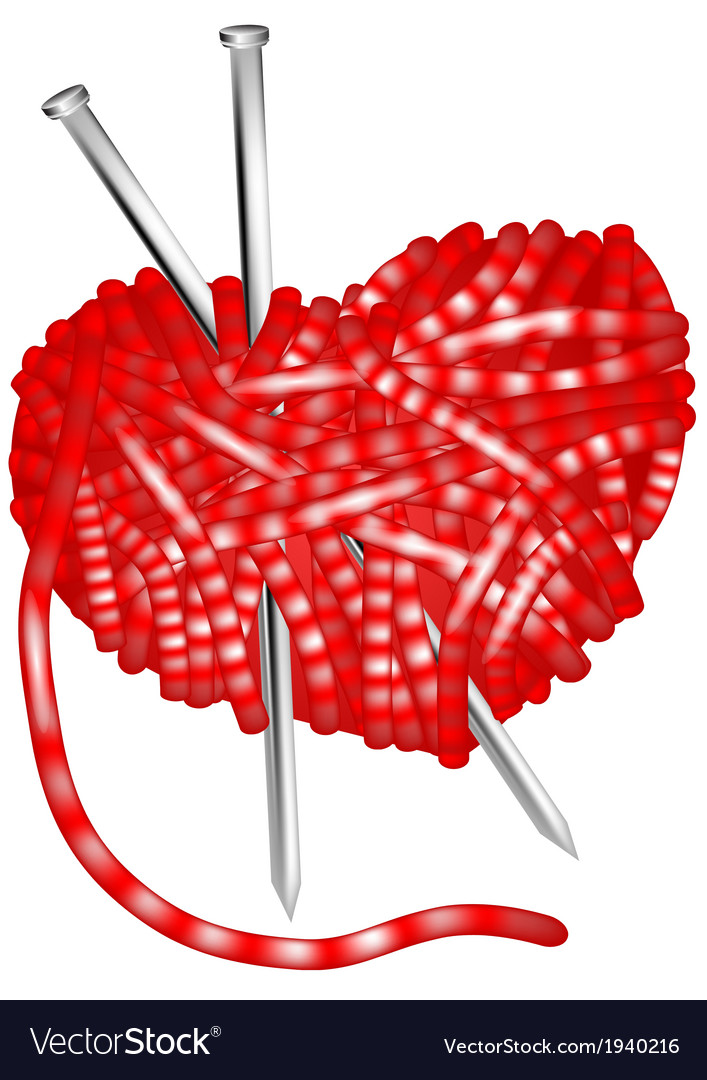 Clew and knitting needles vector