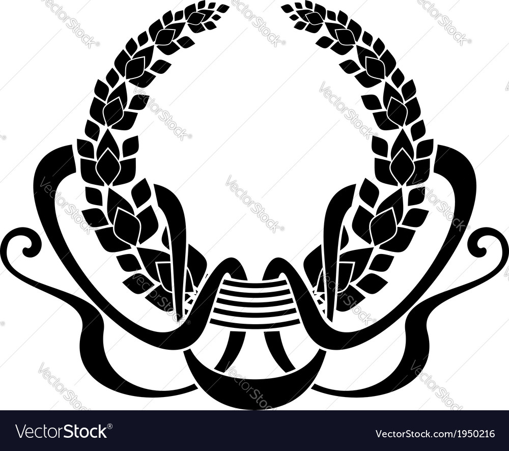 Foliate wreath with winding ribbons vector | Price: 1 Credit (USD $1)