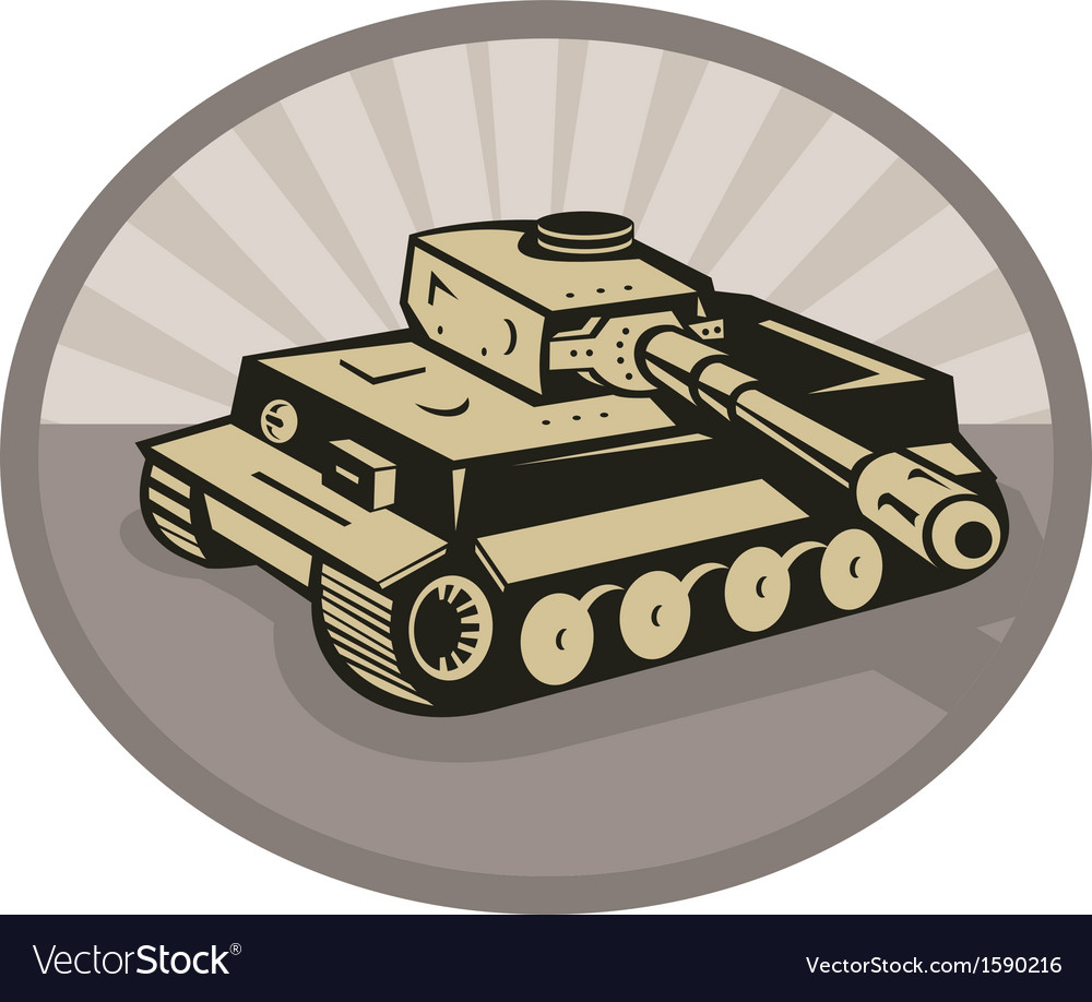 German panzer battle tank aiming cannon vector | Price: 1 Credit (USD $1)