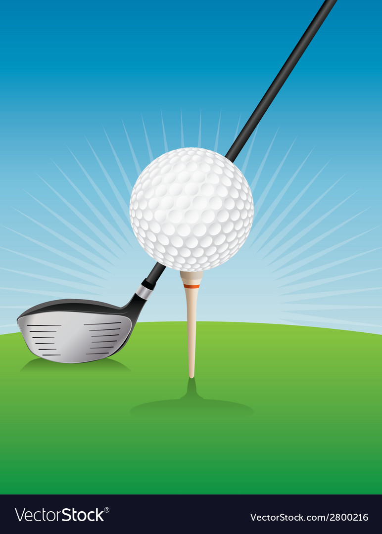 Golf ball teed and driver vector | Price: 1 Credit (USD $1)