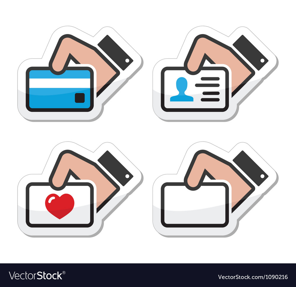 Hand holding credit card business card id icons vector | Price: 1 Credit (USD $1)