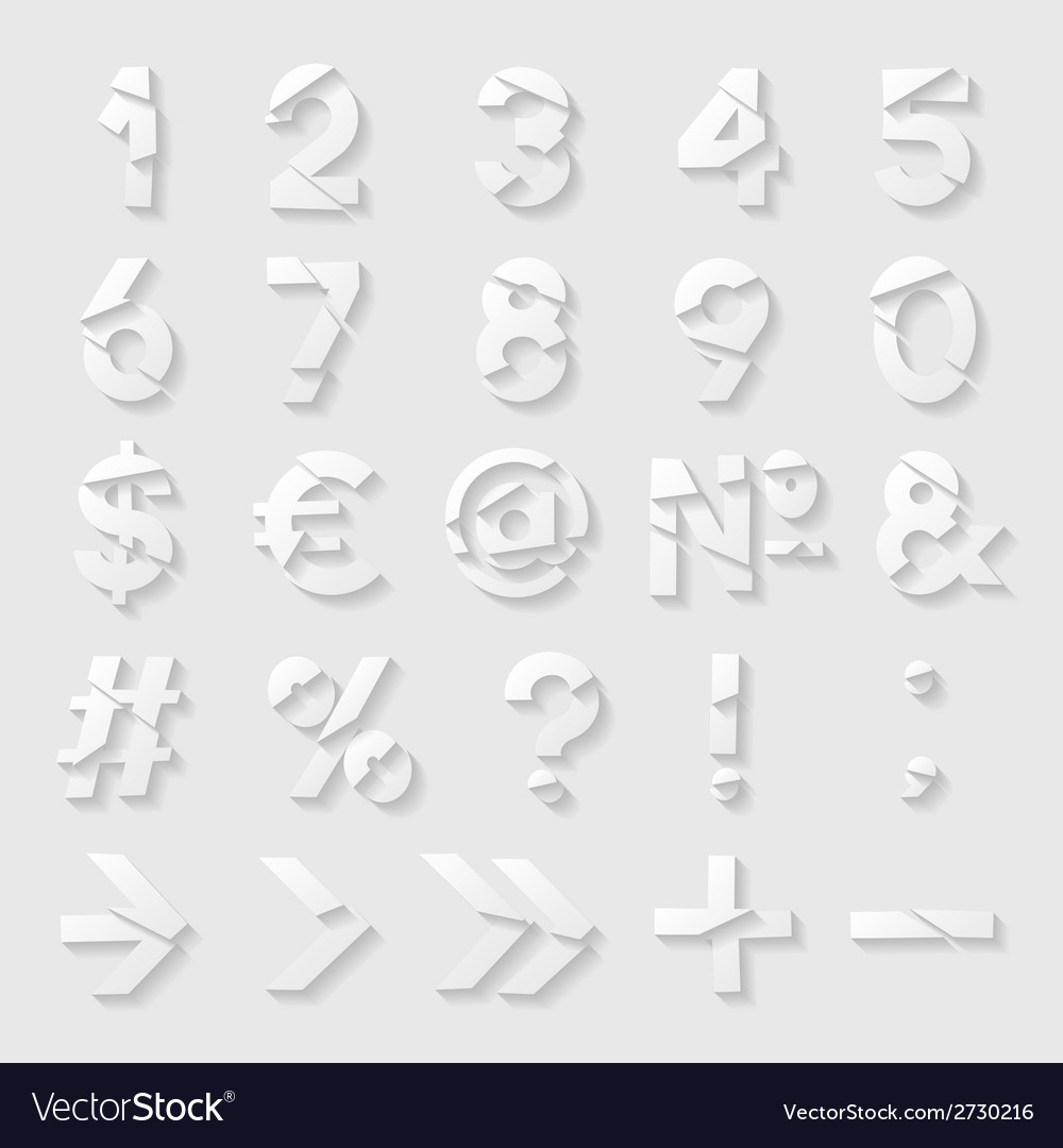 Paper cut numbers and symbols vector | Price: 1 Credit (USD $1)