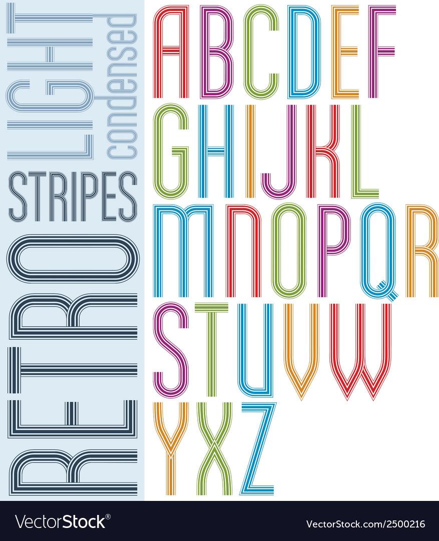 Poster retro striped font bright condensed vector | Price: 1 Credit (USD $1)