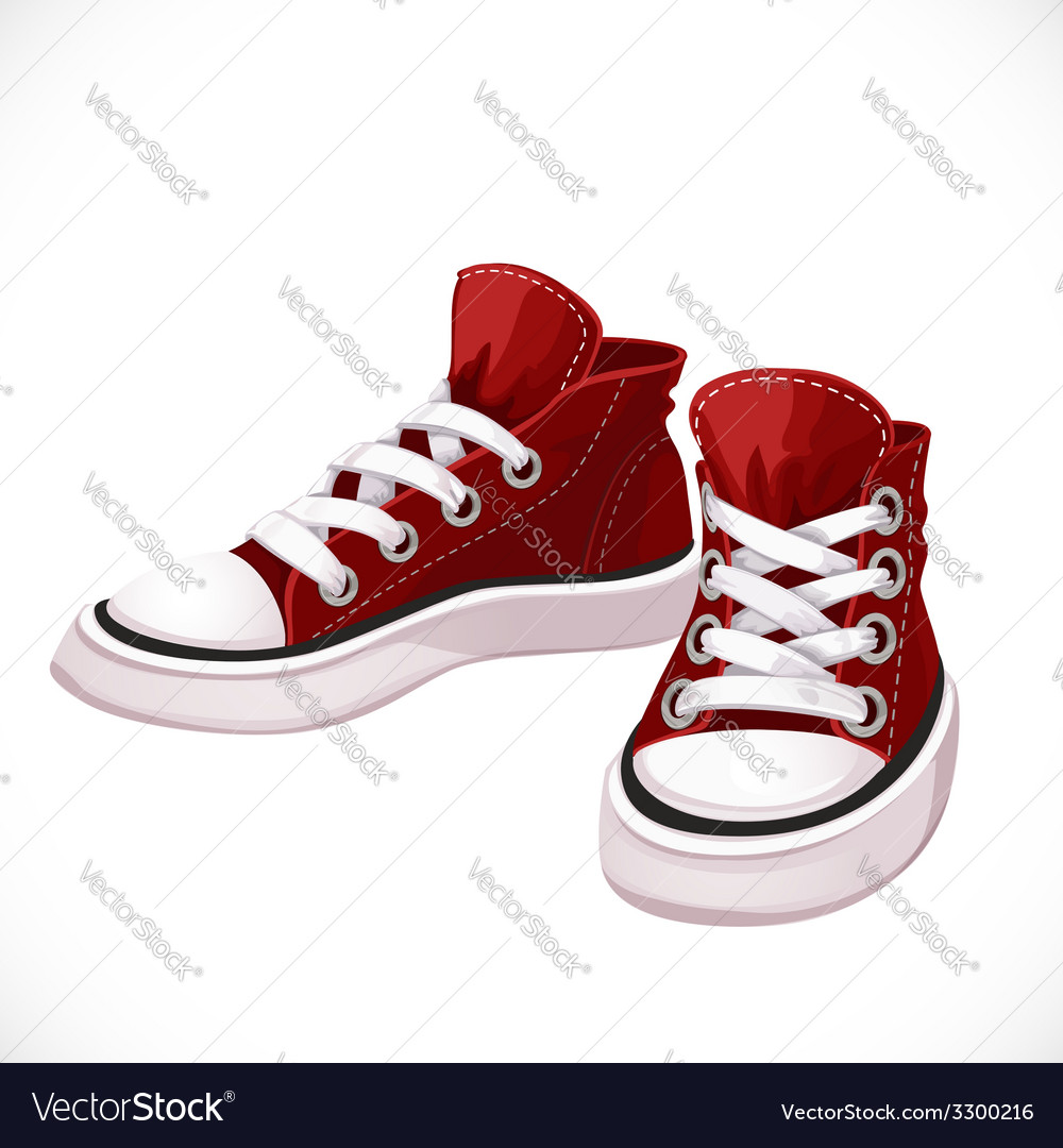 Red sports sneakers with white laces vector | Price: 1 Credit (USD $1)