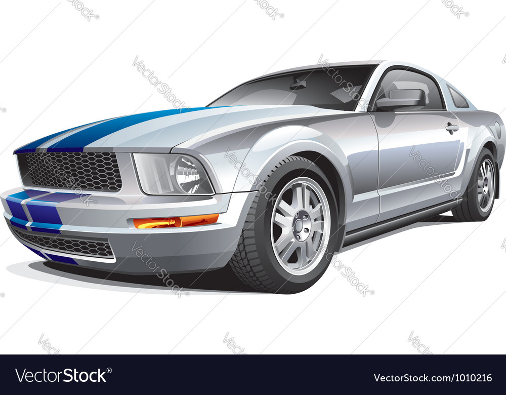 Silver muscle car vector | Price: 5 Credit (USD $5)