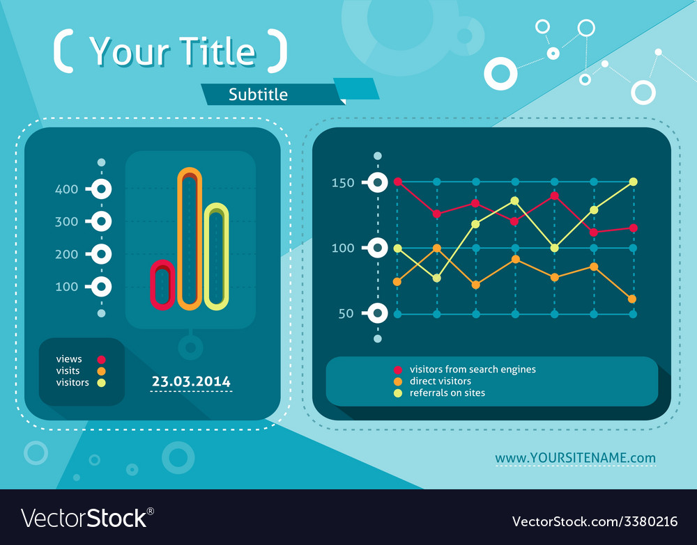 Web site seo analytics charts on screen of pc vector