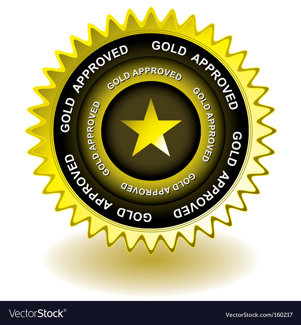 Approved gold icon vector