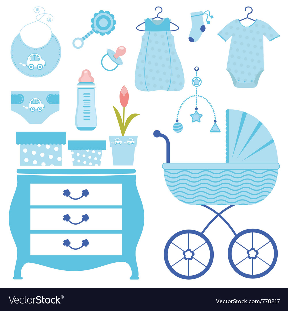 Baby shower in blue vector | Price: 1 Credit (USD $1)