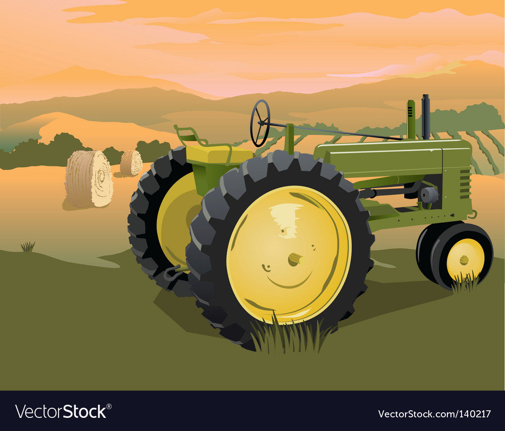 Farm tractor scene vector | Price: 3 Credit (USD $3)