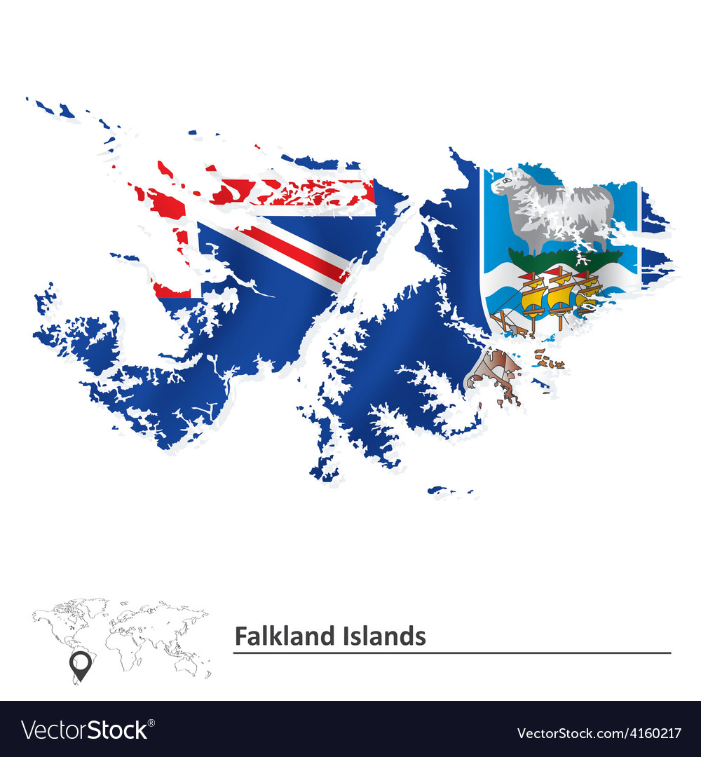Map of falkland islands with flag vector   Price: 1 Credit (USD $1)