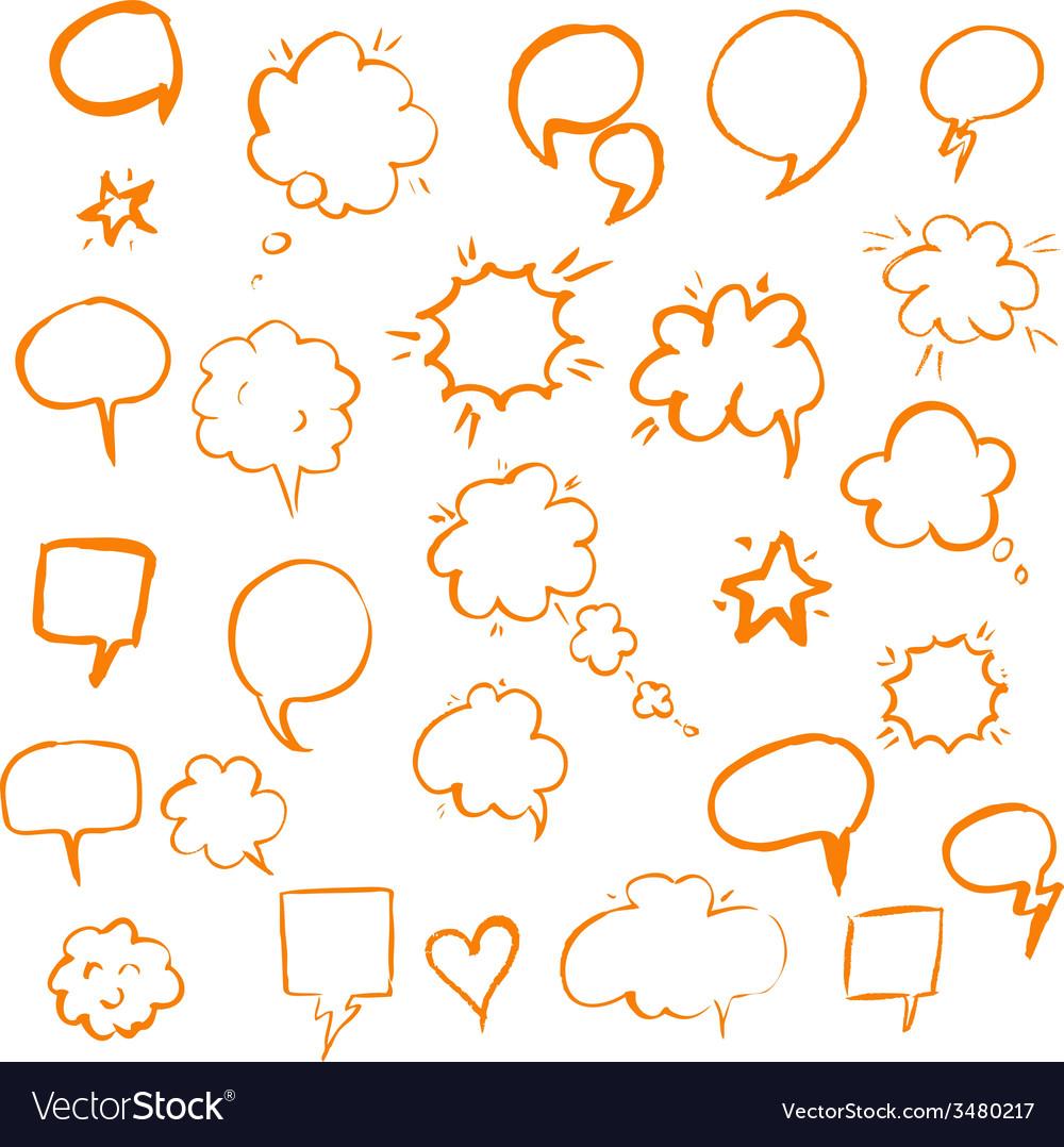 Orange hand draw speech bubble vector | Price: 1 Credit (USD $1)