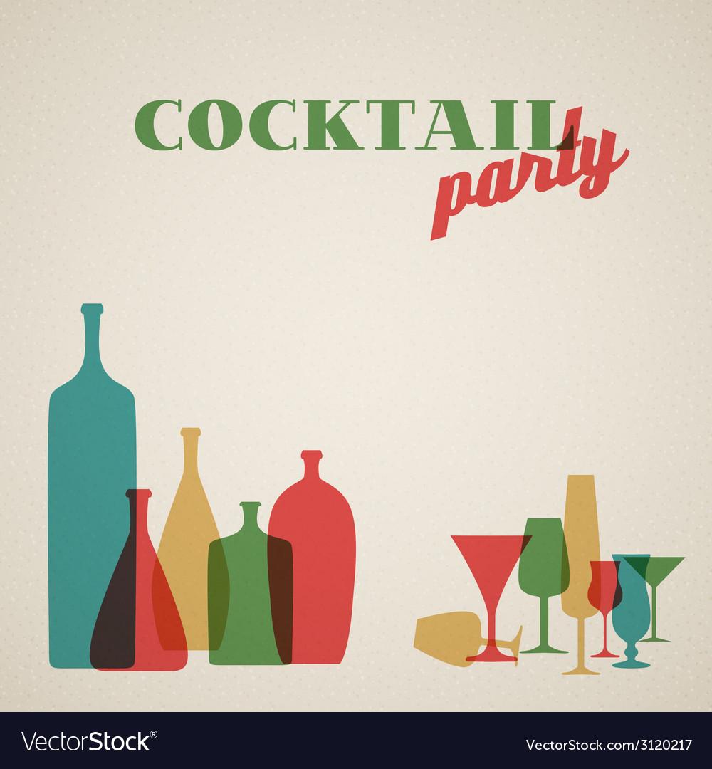Retro coctail party invitation card vector | Price: 1 Credit (USD $1)