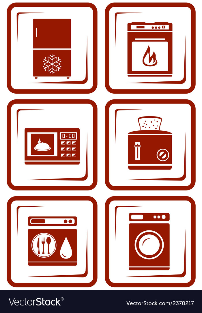 Set home appliance icons vector | Price: 1 Credit (USD $1)