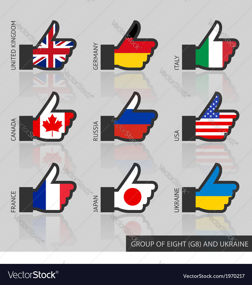 Set of g8 flags like vector | Price: 1 Credit (USD $1)