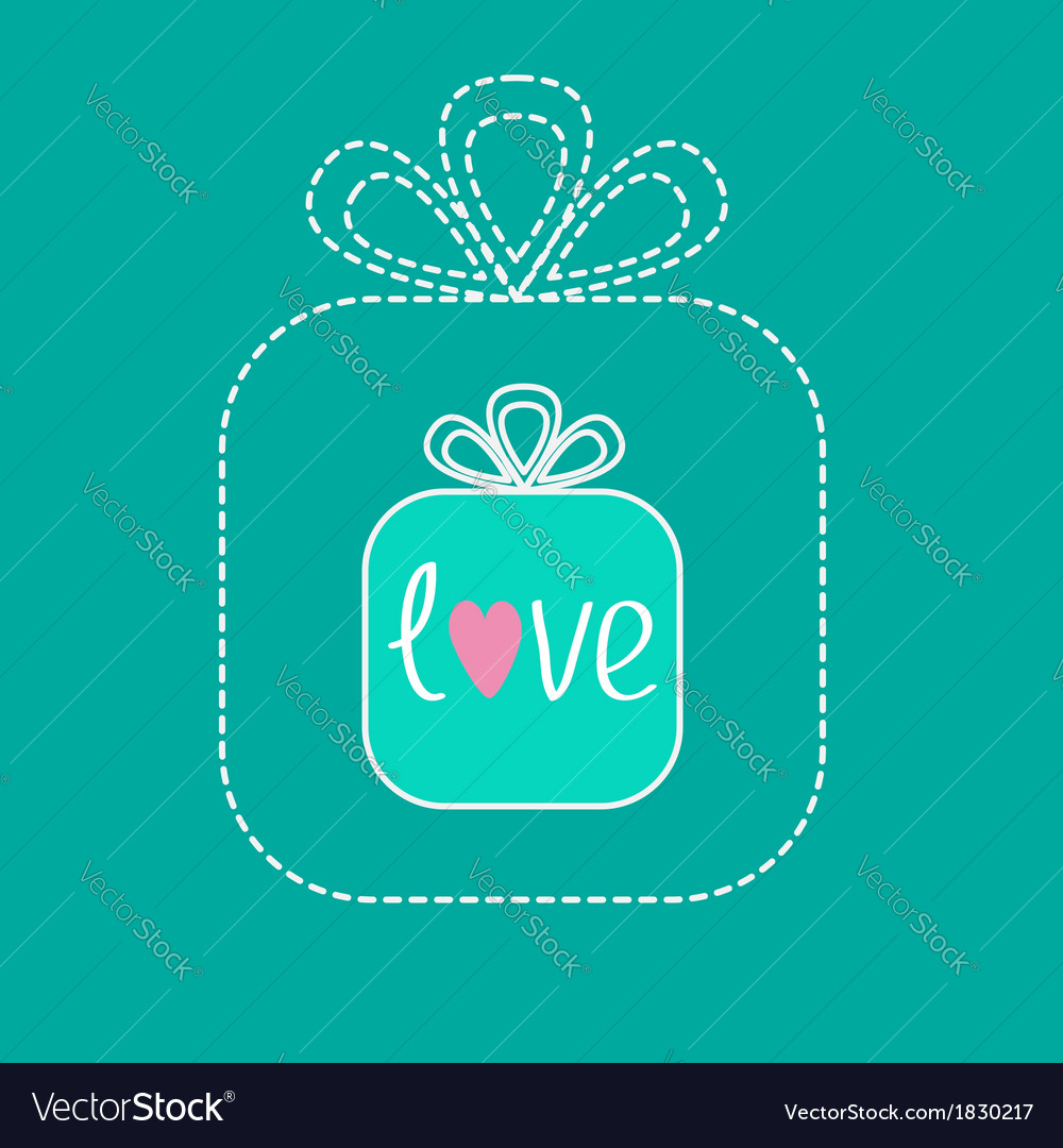 Small gift box in the big gift box dash line flat vector | Price: 1 Credit (USD $1)