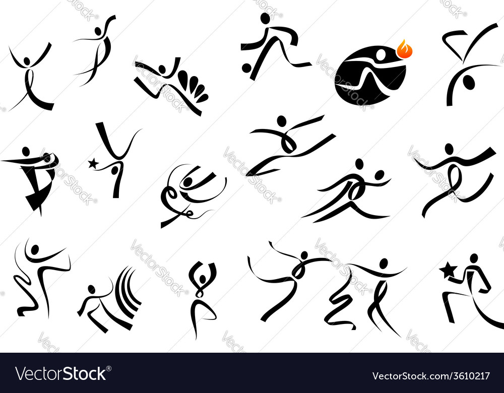 Sportsman and dancer icons vector