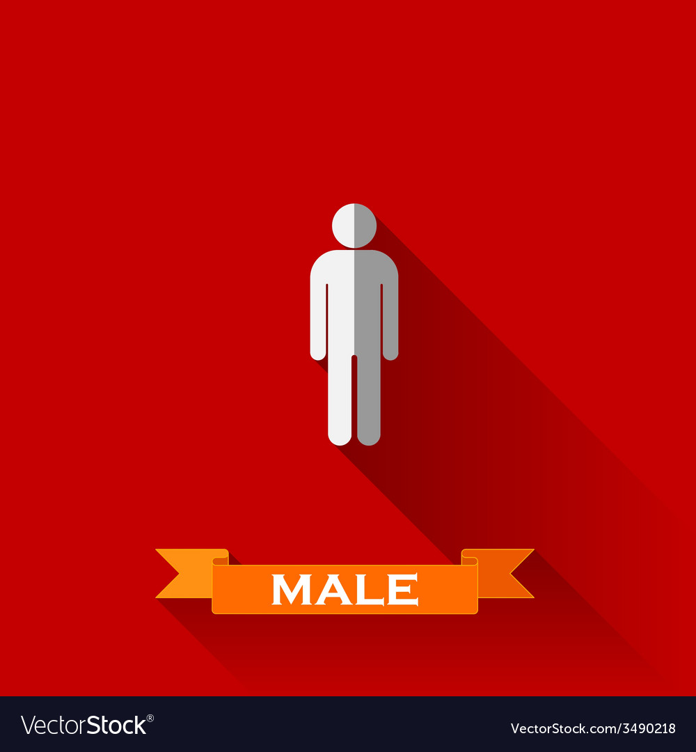 A male sign in flat design style with long shadows vector | Price: 1 Credit (USD $1)